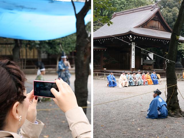 Priests at Yasukuni shooting a fake deer (probably for the Kami)